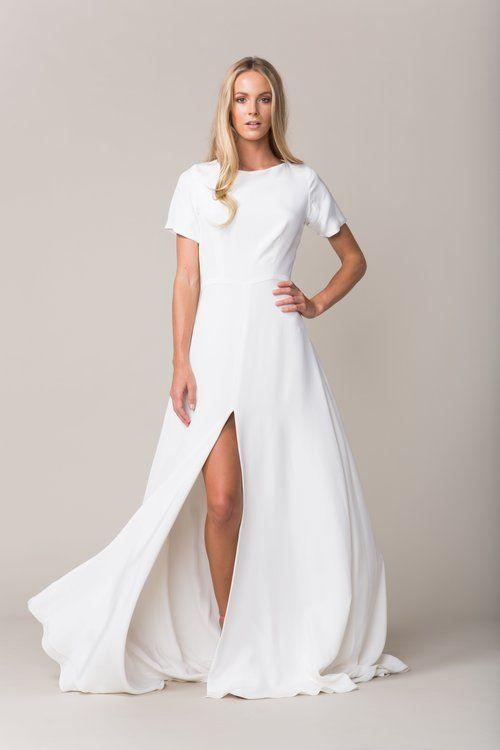 9b0ba3b0a00 Sarah Seven collection - Sullivan gown. Crepe cap sleeve
