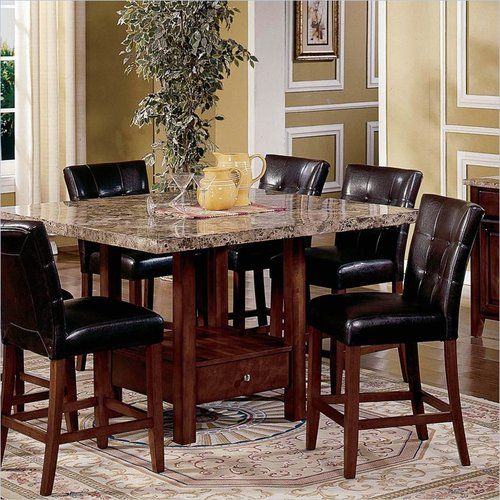 5 Piece Kitchen Dining Set Square Marble Top Counter Height (Table And 4  Chairs)
