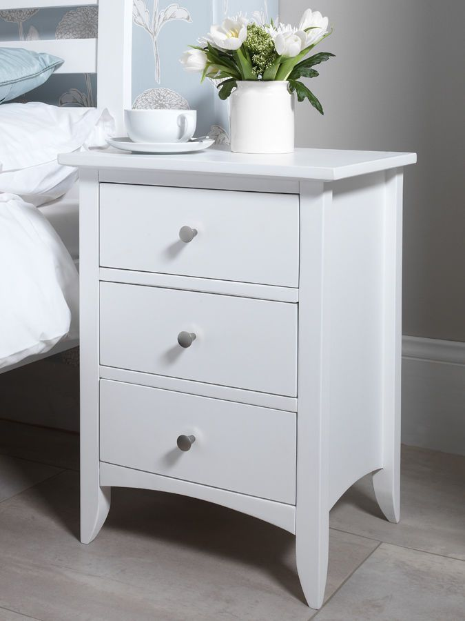 Best Edward Hopper White Bedside Table With 3 Drawers 400 x 300