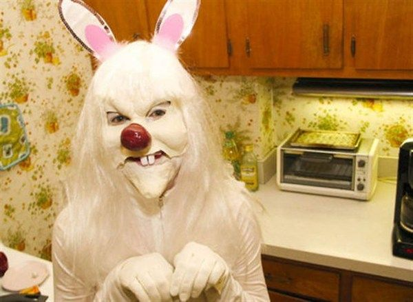 Terrifying Halloween costume -- person dressed as a rabbit