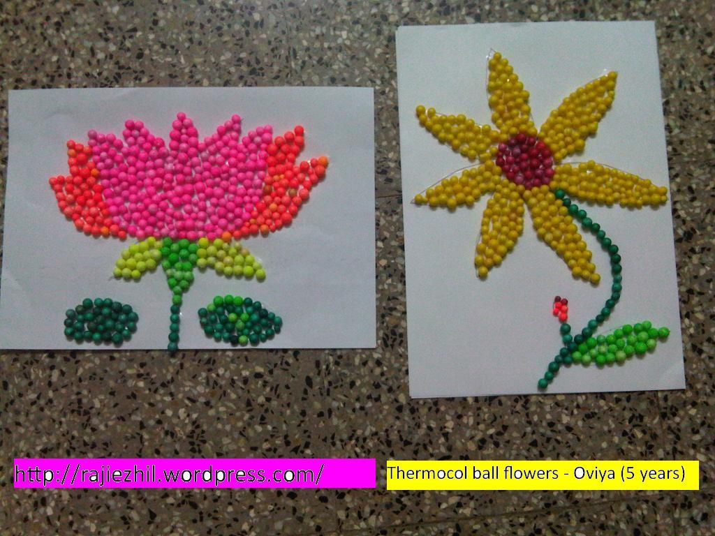 Thermocol Balls Flower Craft
