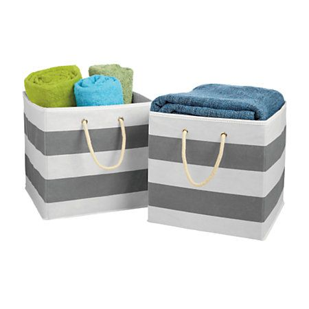 High Quality Orbit Storage Bins 12 X 12 X 12 GrayWhite Stripe Set Of 2 By Office Depot U0026  OfficeMax