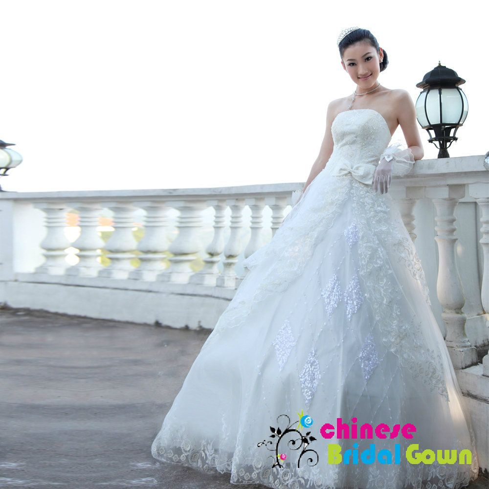 Style 2020, Nice Organza Ball Gown Strapless Chinese Wedding Dress ...