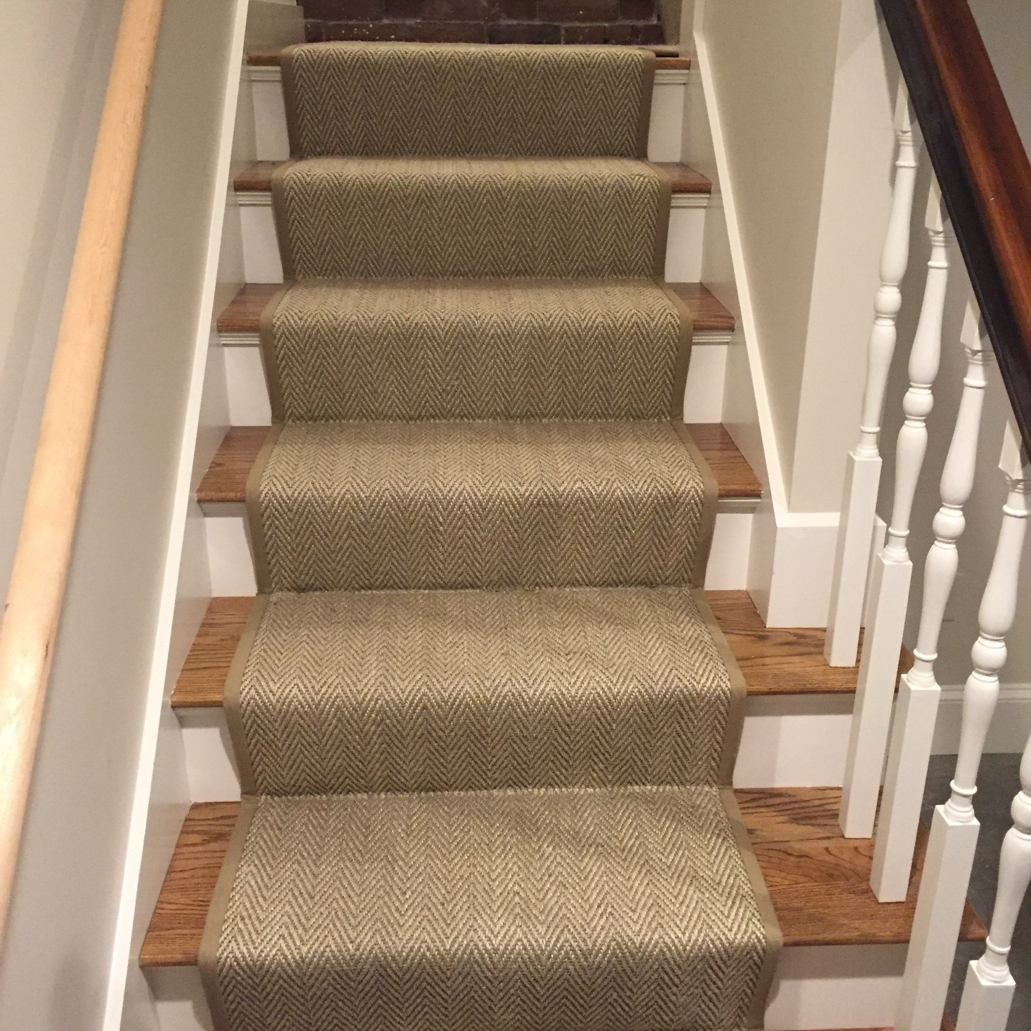 Best Herringbone Stair Runner Loving This Custom Herringbone 400 x 300