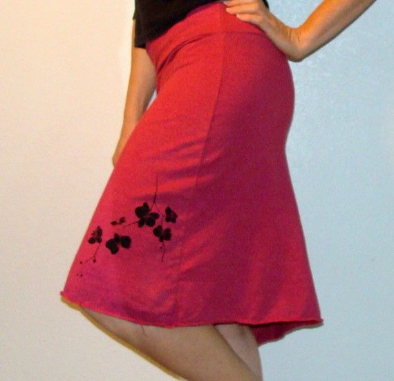 Organic cotton and hemp blend skirt with orchid print. Handmade and dyed in Northern California