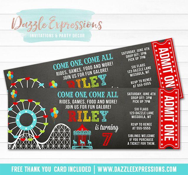 Printable Amusement Park Chalkboard Ticket Birthday Invitation