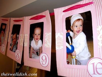 First Birthday Monthly Banner Printable Tags in Pink.  Perfect for any girls first birthday party! party-ideas