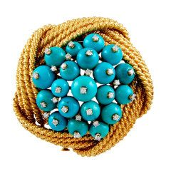 DAVID WEBB Diamond Turquoise Bead Pin