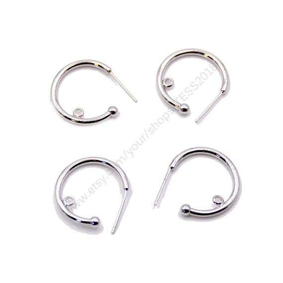 10 pcs Polish silver Plated Brass Round Earring Findings Simple Circle Ear Wares Hooks Posts Findings DIY Making Jewelry Supply T019