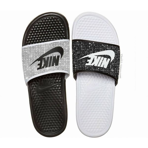 Nike Benassi JDI women's slide sandals ($250) ❤ liked on Polyvore featuring  shoes,