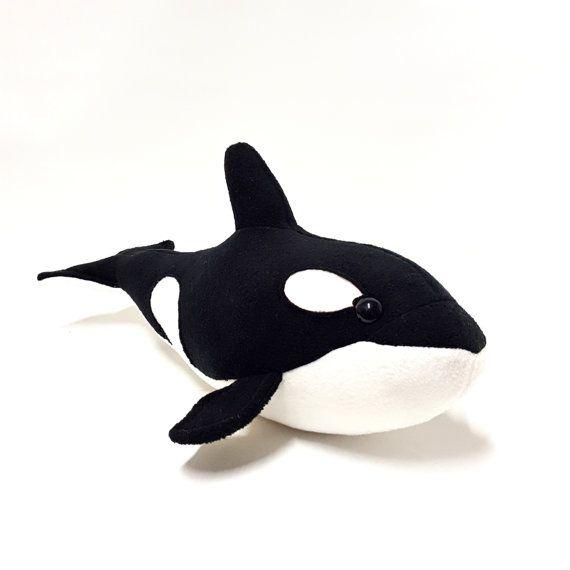Orca Black White Plush Room Accessories Soft Ocean By Bugodile Room Accessories Plush Handmade Toys