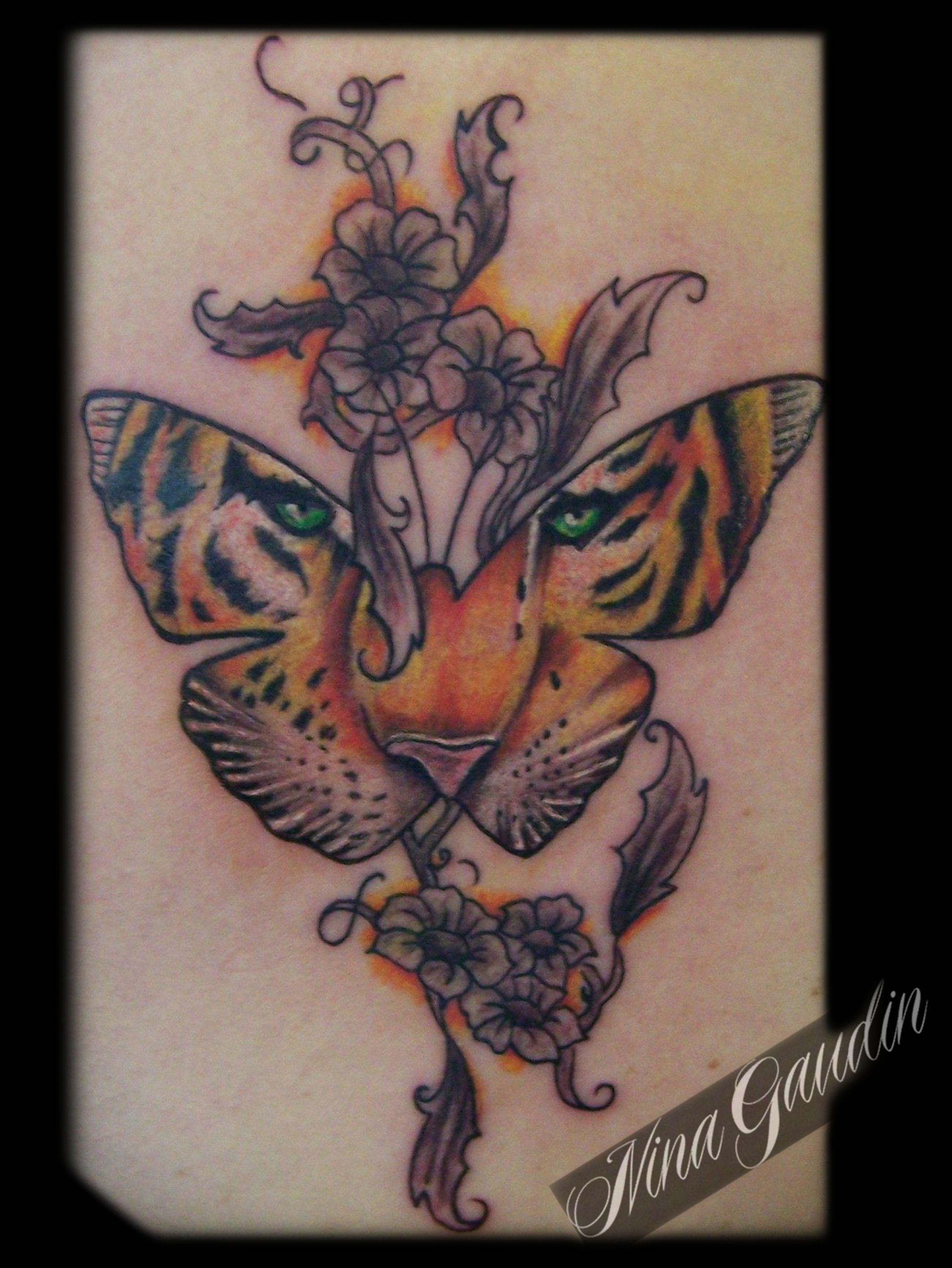 ba8a8a1d2 Tiger butterfly flowers color - Tattoo by Nina Gaudin of 12th Avenue Tattoo  in Nampa, ID