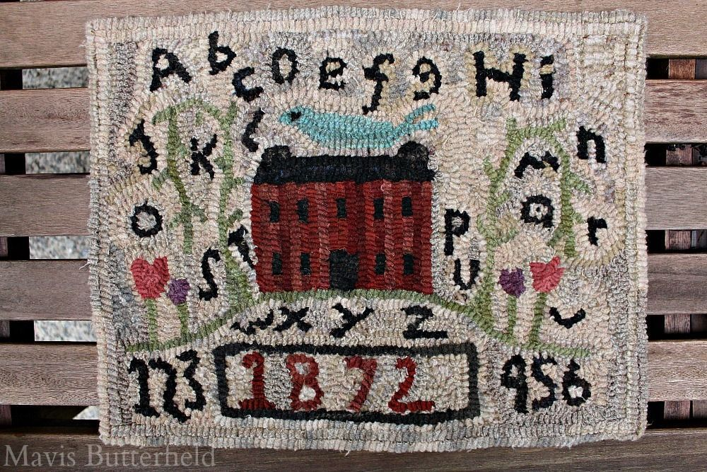 Primitive Folk Art Hooked Rug Sampler with Red Farmhouse #NaivePrimitive #MavisButterfield