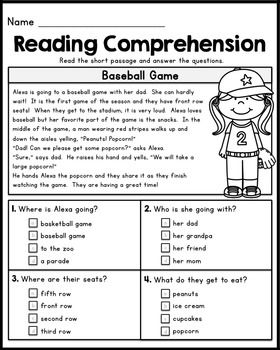 First Grade Reading Comprehension Passages Set 1 First Grade
