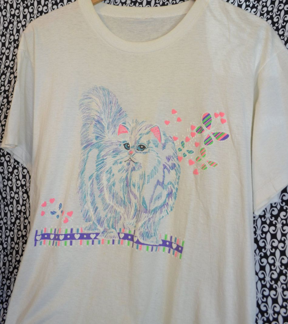 Cat Vintage T Shirt Neon Pink Purple Fluffy Pretty Persian Butterflies Hearts Cute Retro Funky Design Size Large By SerialMateriaL