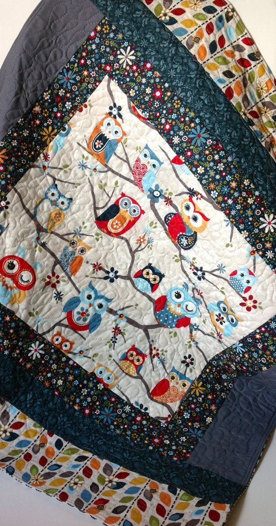 Baby Quilt Modern Scandinavian Owls On Branches Blue By
