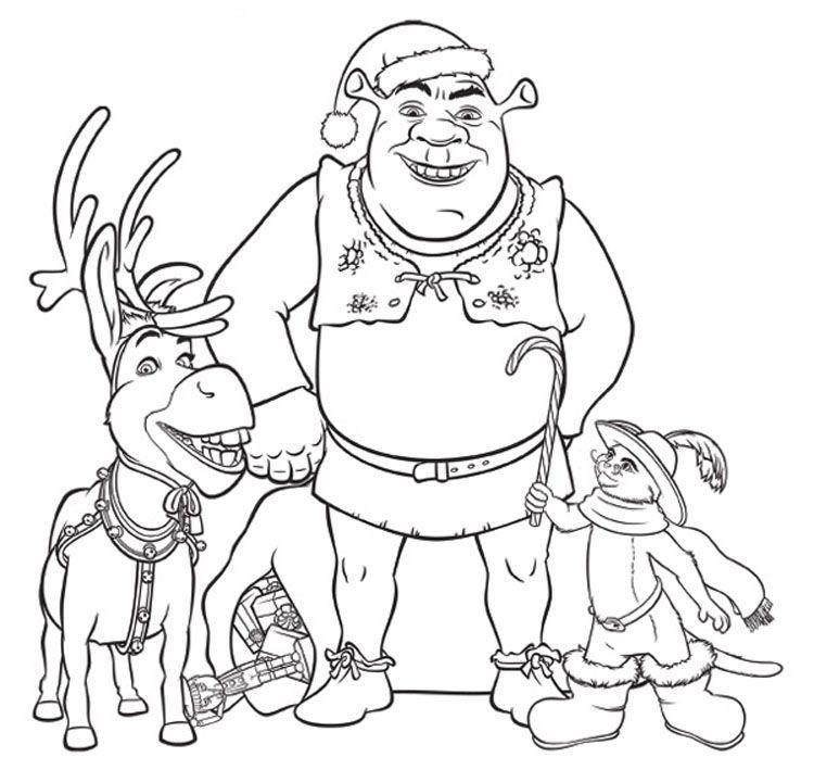 Shrek Xmas Coloring Pages Jpg 750 709