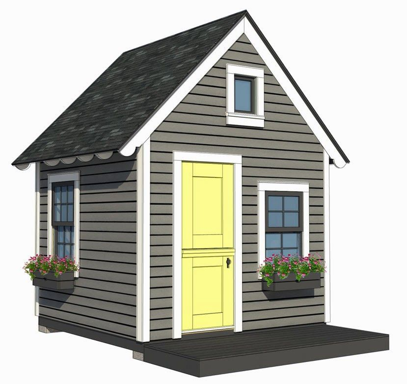 8 39 x8 39 playhouse with loft plans by a place imagined for Playhouse with garage plans