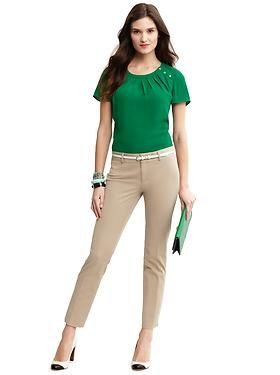 f0c8878b29fd26 Banana Republic - Green Button-shoulder blouse with slim-fit ankle pant