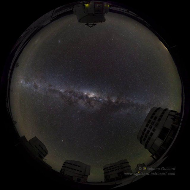 """All sky fish eye Time Lapse movie made at Paranal Observatory, Atacama desert, Chile. Images © Stéphane Guisard, """"Los Cielos de America"""" ,http://sguisard.astrosurf.com Music 'Origins' from album 'Chi Sagittarii', © VAAST, www.vaast.co.uk  The original movie is a (very) HD (8000 x 8000 pixels), high image quality time lapse movie. The field of view is 360degrees x 200 degrees. The version presented here is 1200x1200 pixels and should be ..."""
