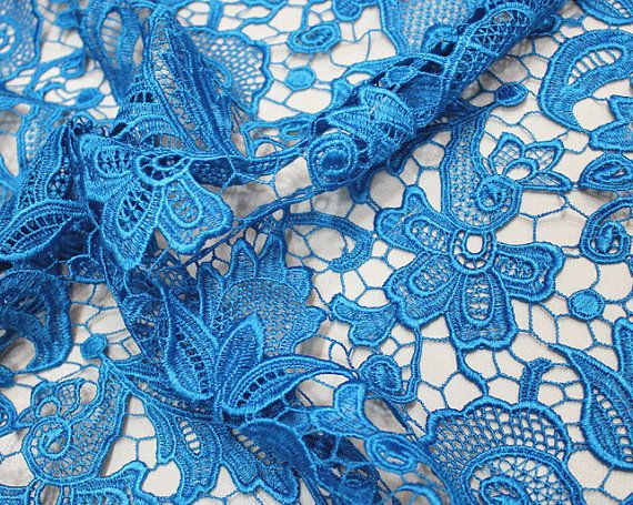 Light Blue Flower Lace Fabric Water Soluble Dress Fashion
