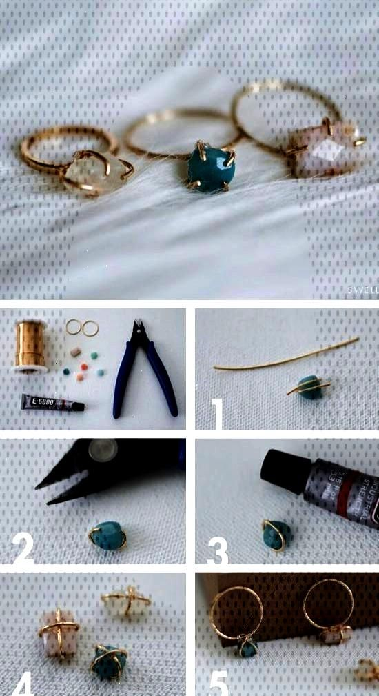 DIY Jewellery - make your own dainty stone set wire ring - craft project handma...    Bijoux d