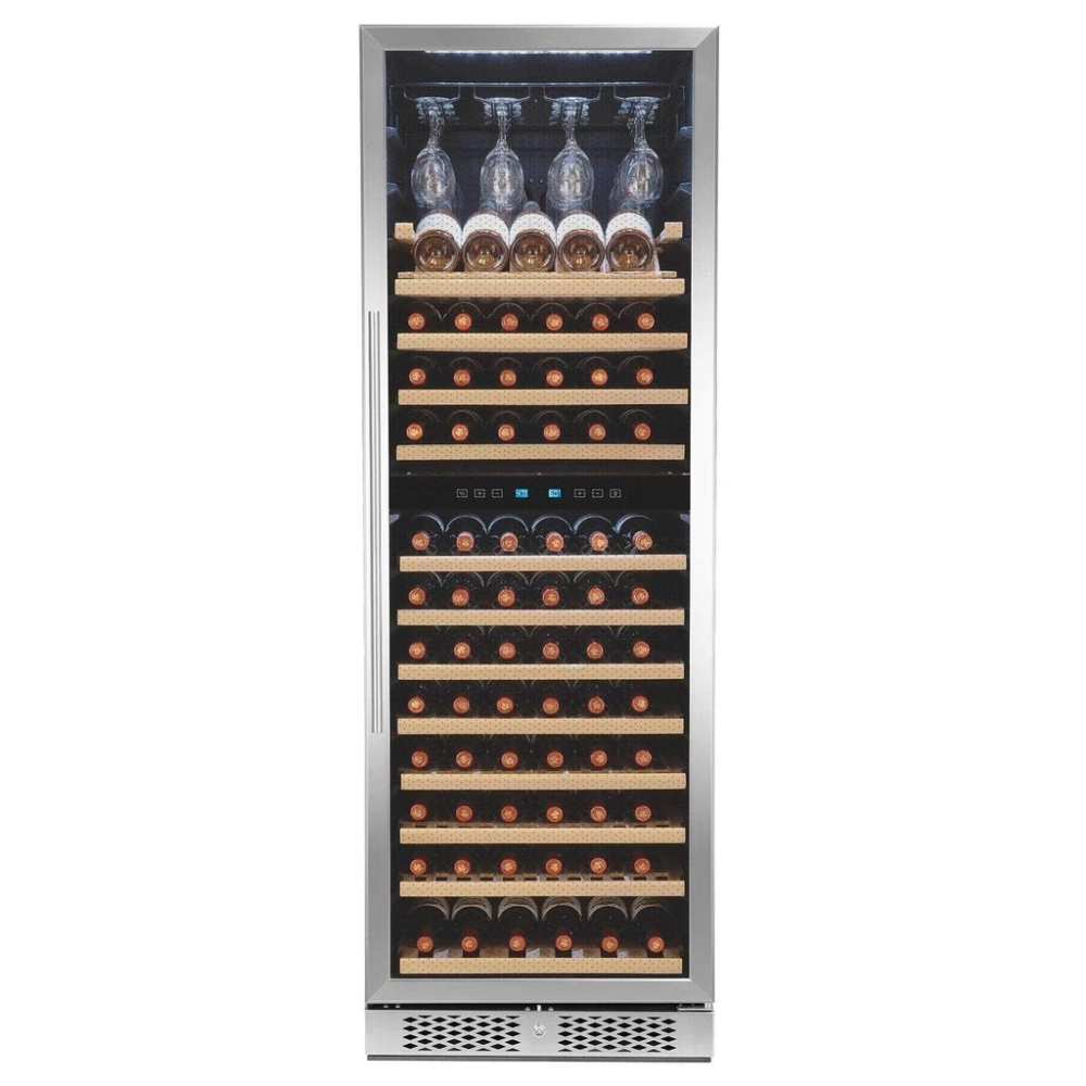 AKDY 121-Bottle Touch Panel Dual Zone Freestanding Compressor Wine Cooler WC0081 #touchpanel