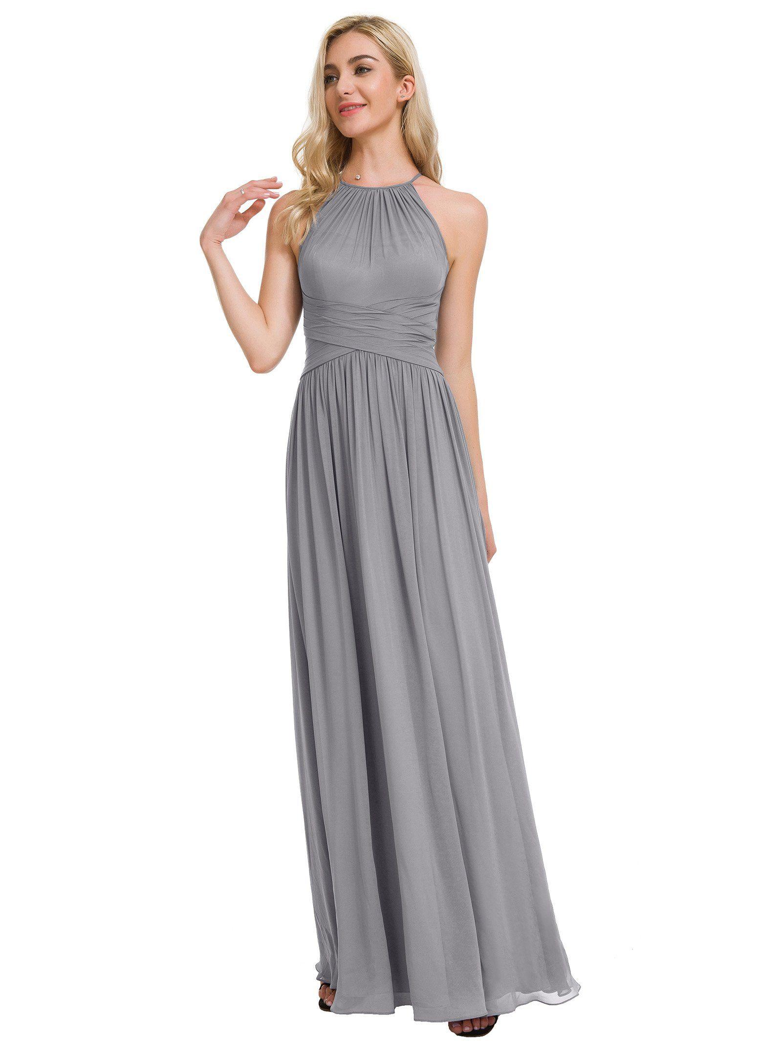 de1abc8c2d5 Alicepub Halter Chiffon Bridesmaid Dress Long Formal Event Dresses Party Prom  Gown Plus Size Taupe US26