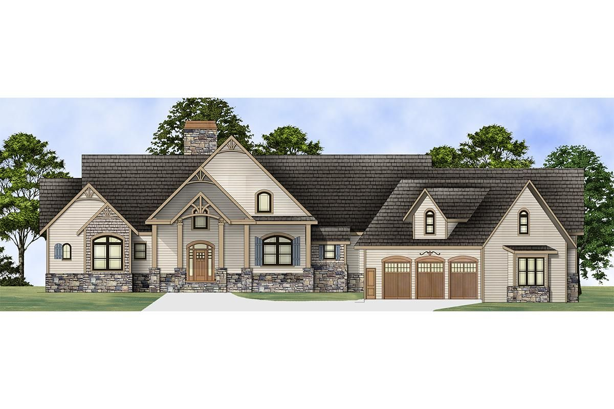 House Plan 4195 00010 Lake Front Plan 2 878 Square Feet 3 Bedrooms 2 5 Bathrooms In 2021 Ranch House Plans Craftsman House In Law Suite