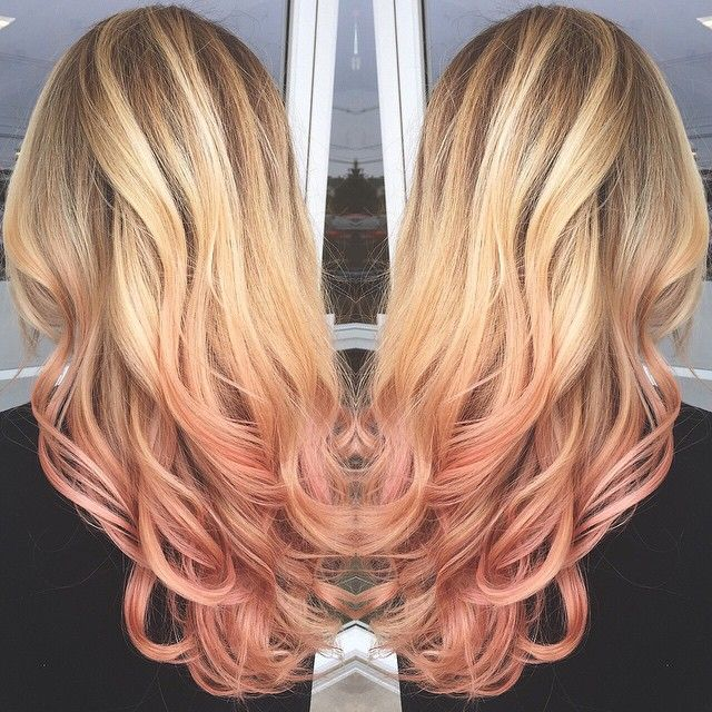 Rose gold ombre and Balayage