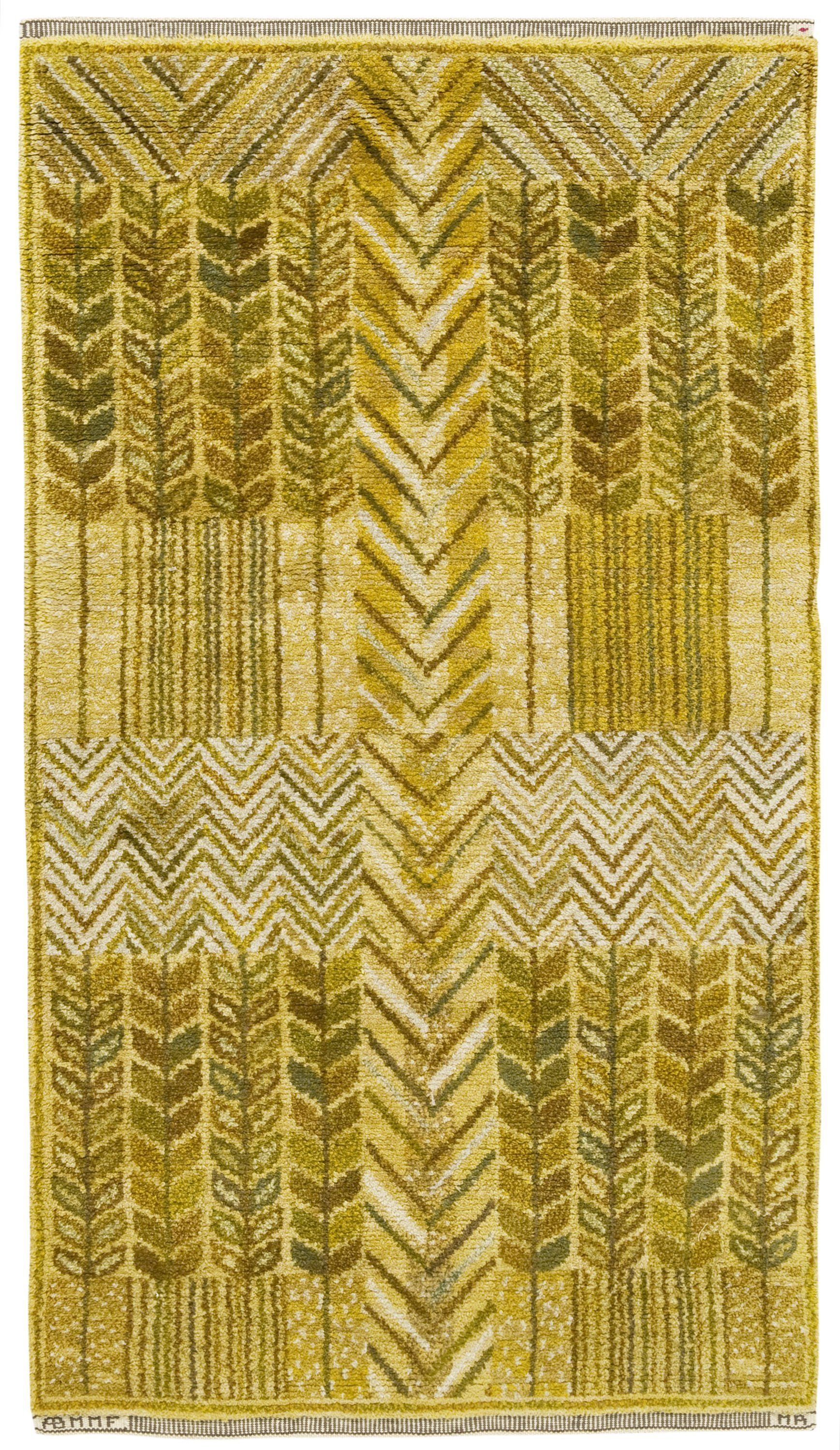 Marta Maas Fjetterstrom And Marianne Richter Flat Weave Barley And Hops Wool Carpet 1960 Tapestry Coverlet Swedish Rug Scandinavian Textiles