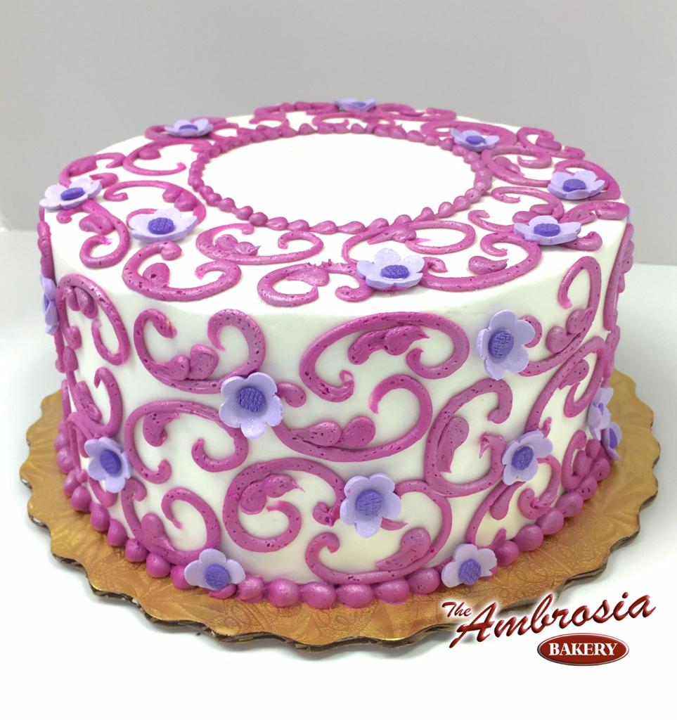 Buttercream Scrolls with Gumpaste Flowers| The Ambrosia Bakery Cake ...