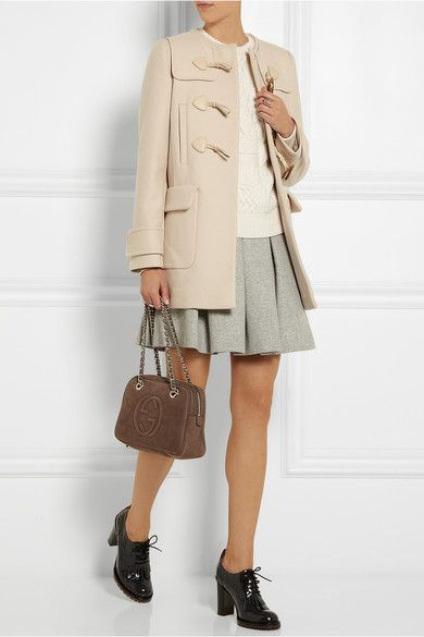 Miu Miu | Leather-trimmed wool duffle coat | NET-A-PORTER.COM
