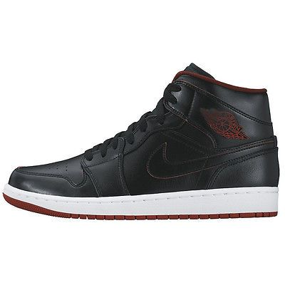67130a6cef3 Nike Air Jordan 1 Mid Gs Big Kids 554725-028 Black Gym Red Shoes Youth