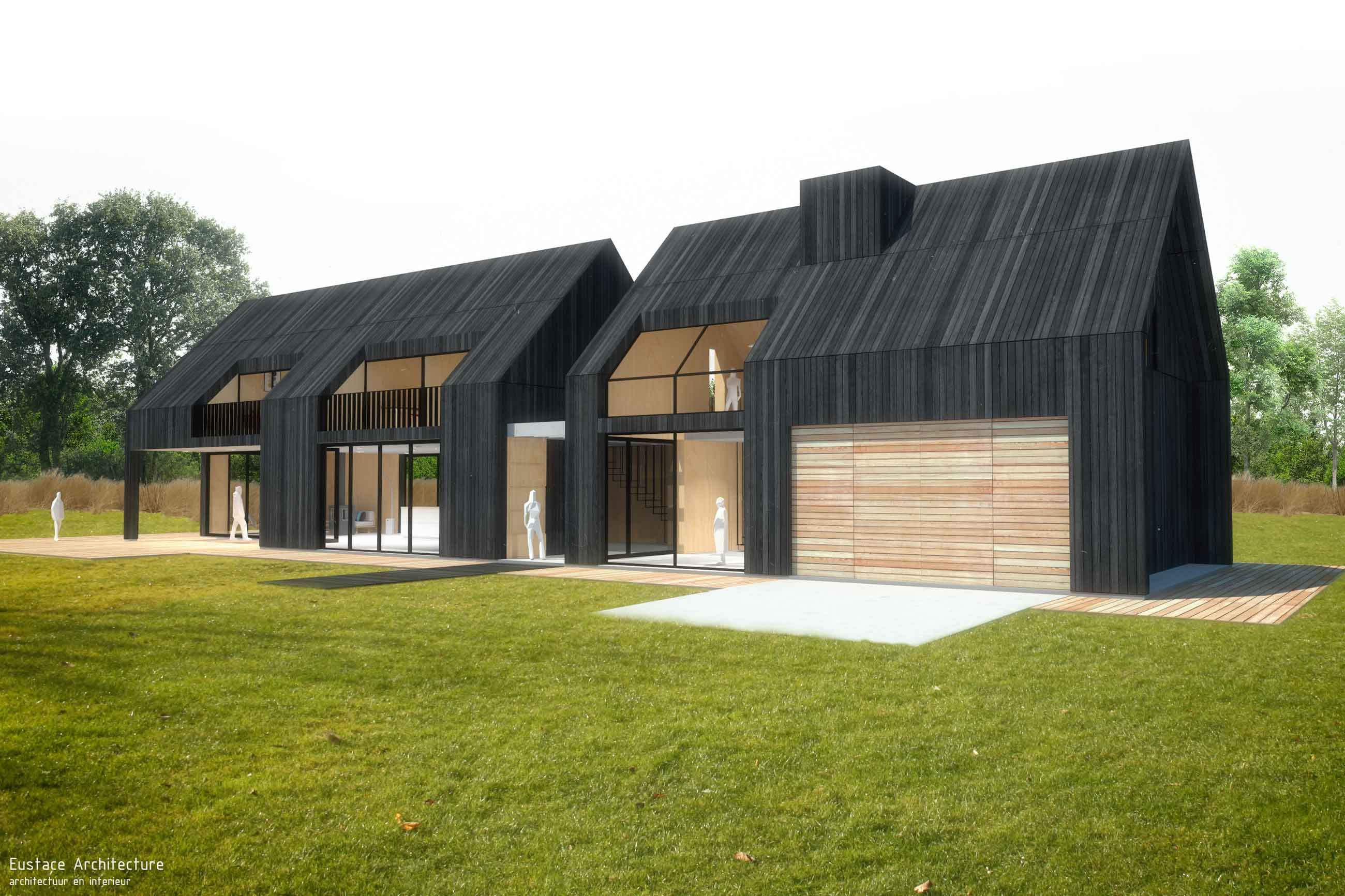 Duurzame vrijstaande particuliere zelfbouw gezinswoning perspectief zijaanzicht blackhouse eustace architectuur
