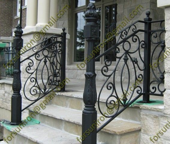 Exterior Outdoor Wrought Iron Porch Railings For Stair Steps With