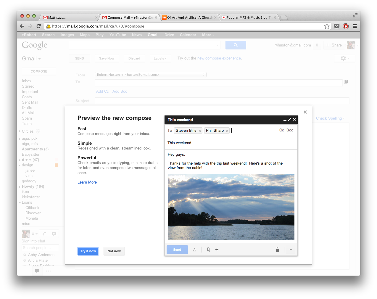 Gmail New Composer Screen, Intro Youtube news