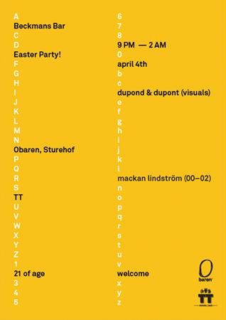 Poster for Beckmans College of Design's  monthly party at Obaren, Stockholm.
