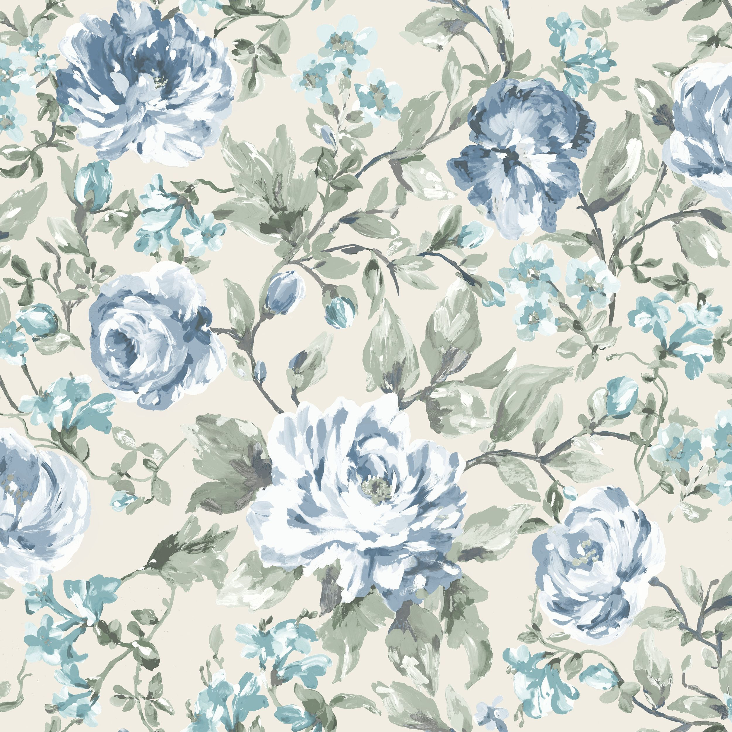 K2 Painterly Blue Cream Floral Wallpaper Departments Diy At