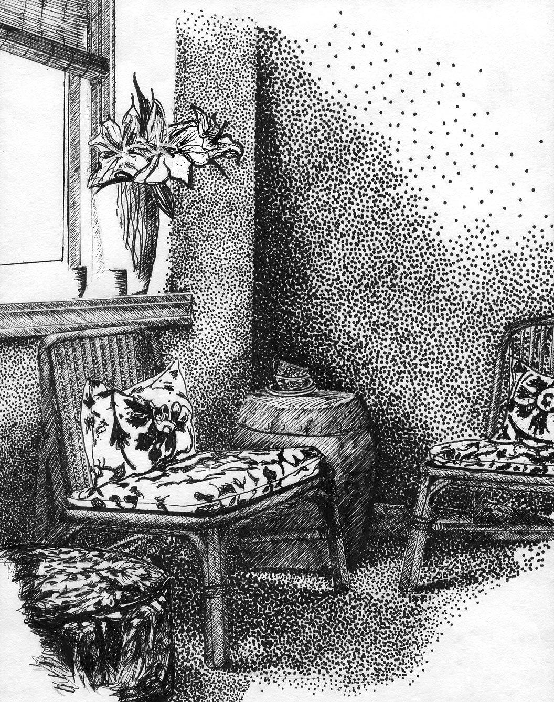 Hand Rendered Interior Felt Tip Pen by Belinda Williams ...