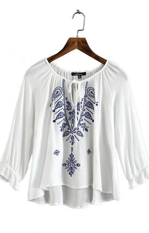 Geometric Embroidered Top - Blouse                                                                                                                                                                                 More