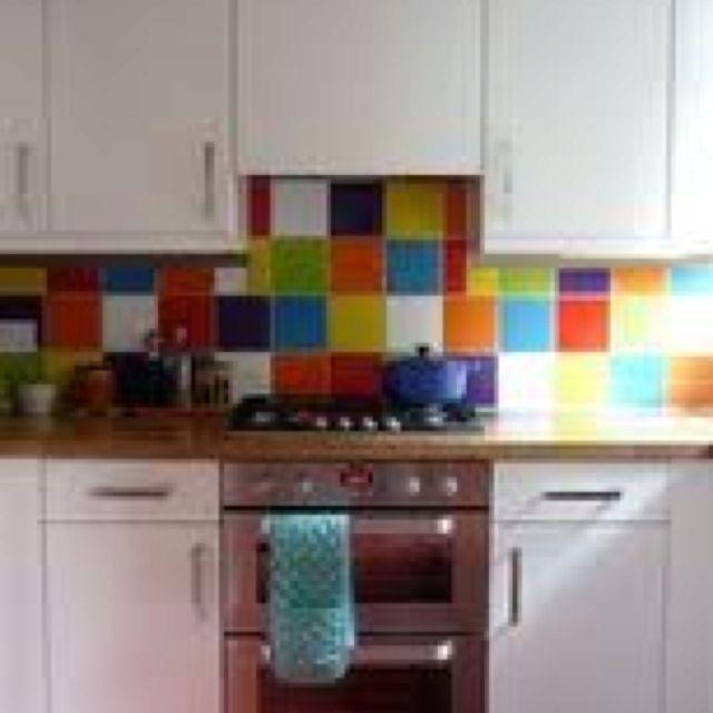 Kitchen Wall Tiles Colors: Multi-coloured Splashback