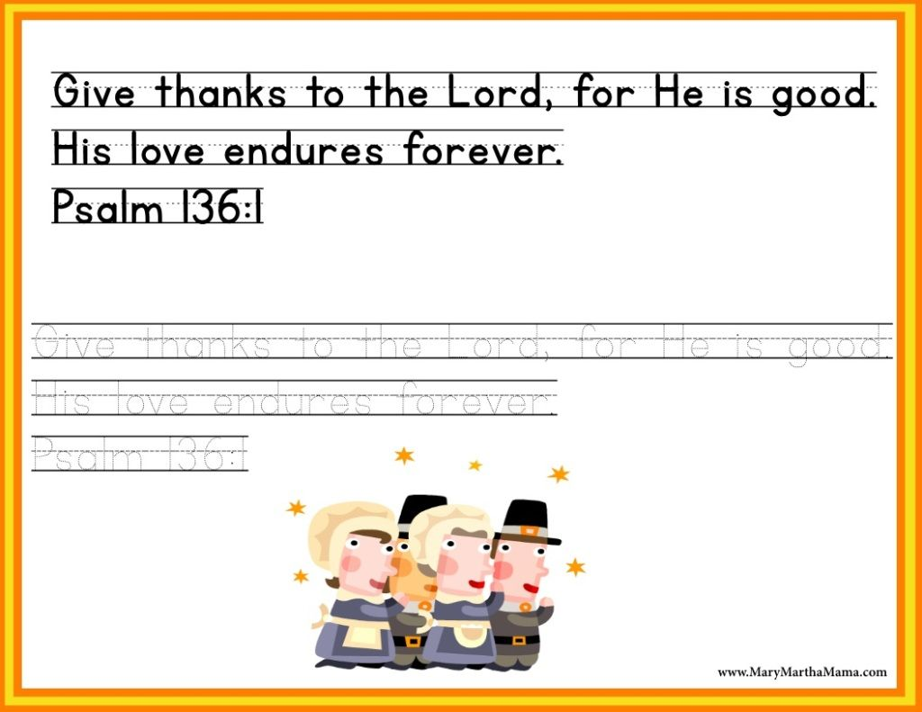 Free Thanksgiving Printables For Kids Psalm 136 1 Tracing