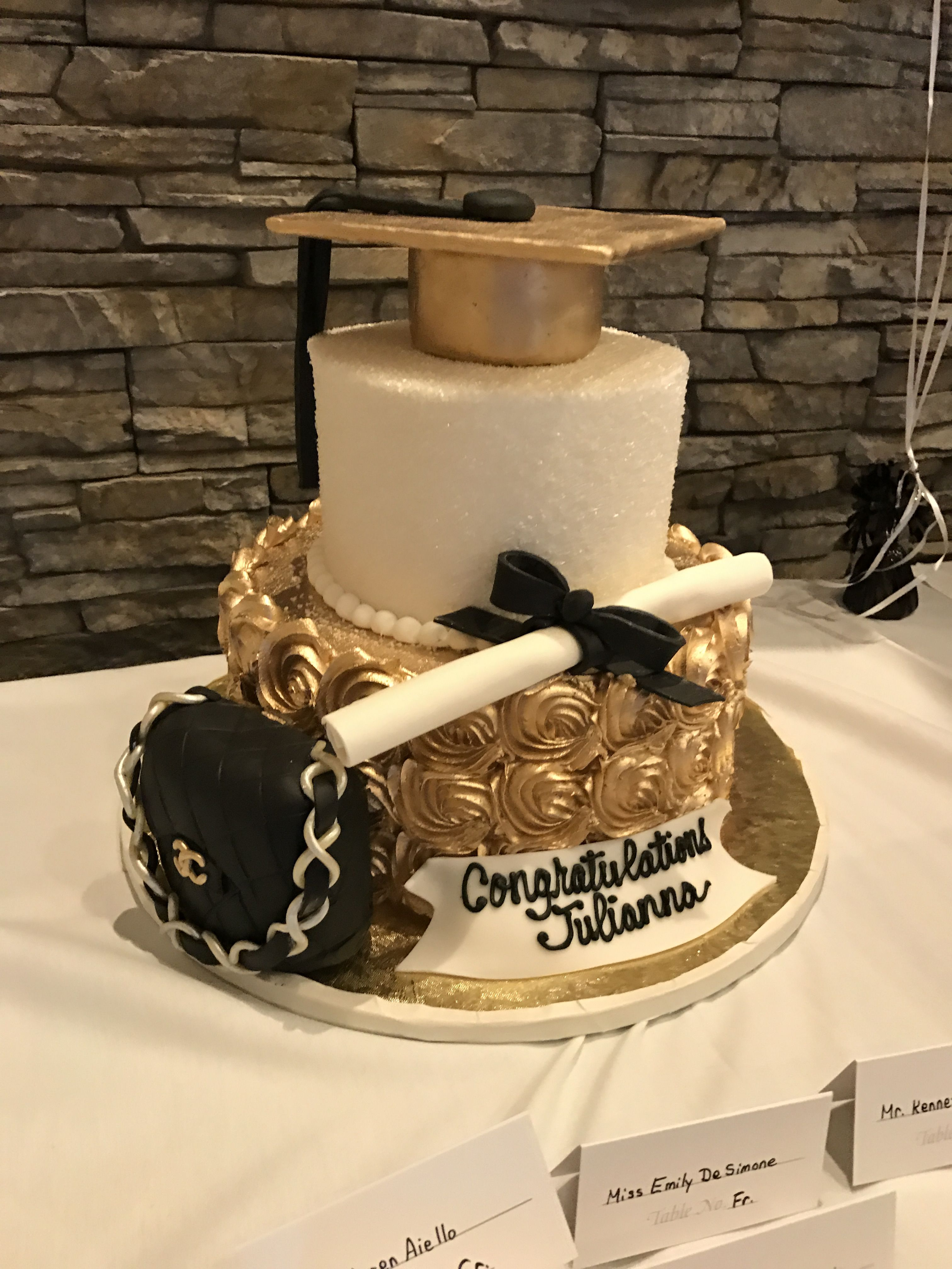 College graduation cake for fashion major black white and gold