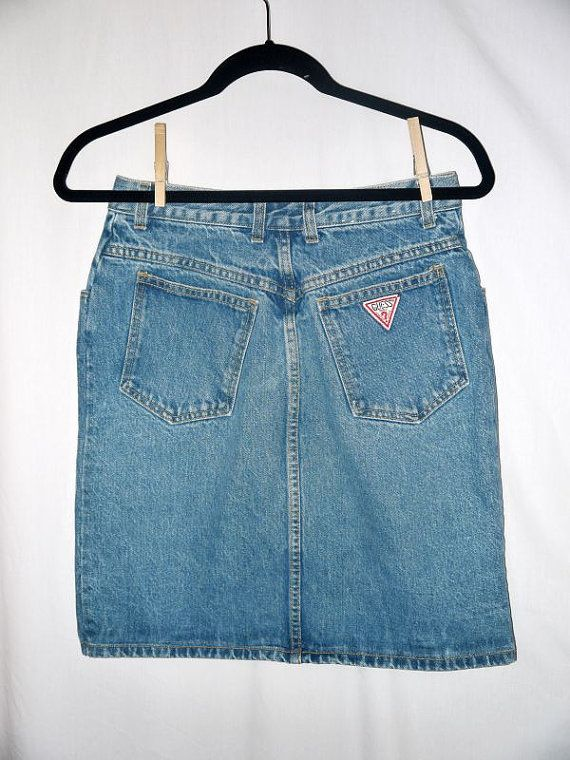 1107adf1f91eb guess jeans 1980s | Cyndi Flopper . vintage 80s 90s Guess mini jeans skirt  / high waist .