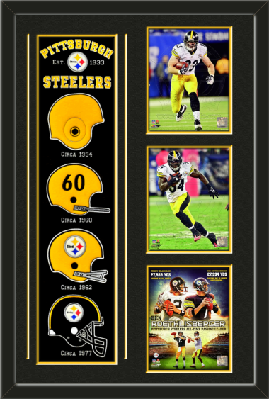 One framed Pittsburgh Steelers heritage banner with three 8 x 10 inch Pittsburgh  Steelers photos of your choice 3924e234f