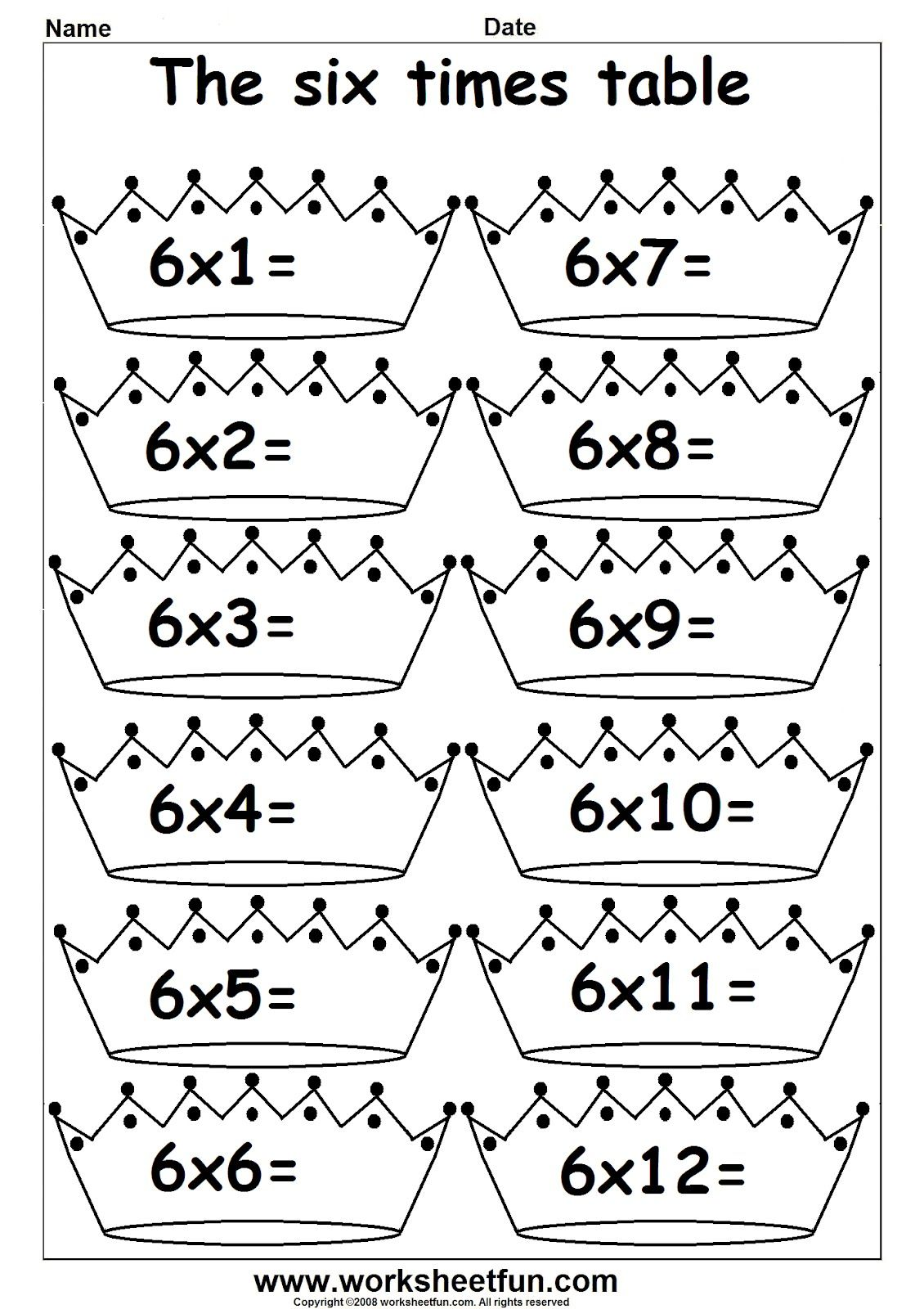 Maths 6 times table worksheets multiplication maths worksheets for year 2 age 6 7 english for Times table quiz 6