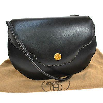 f8d6a16923f2 100-Authentic-HERMES-Paula-Shoulder-Bag-Black-Box-Calf-France-Vintage-A09951