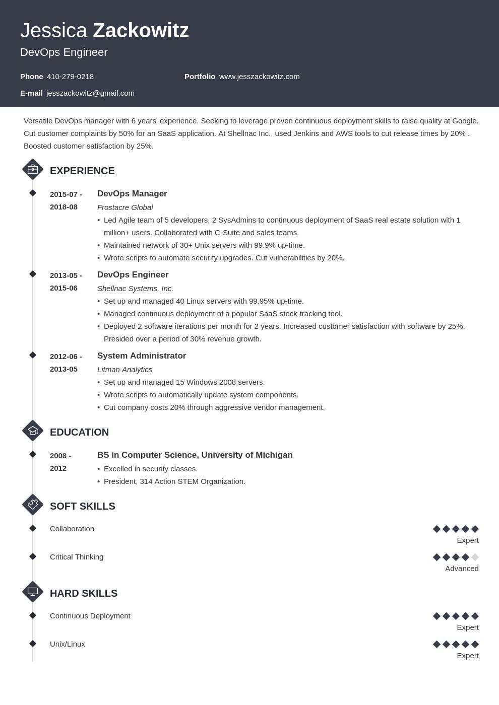 Devops Resume Example Template Diamond Job Resume Examples Resume Examples Resume