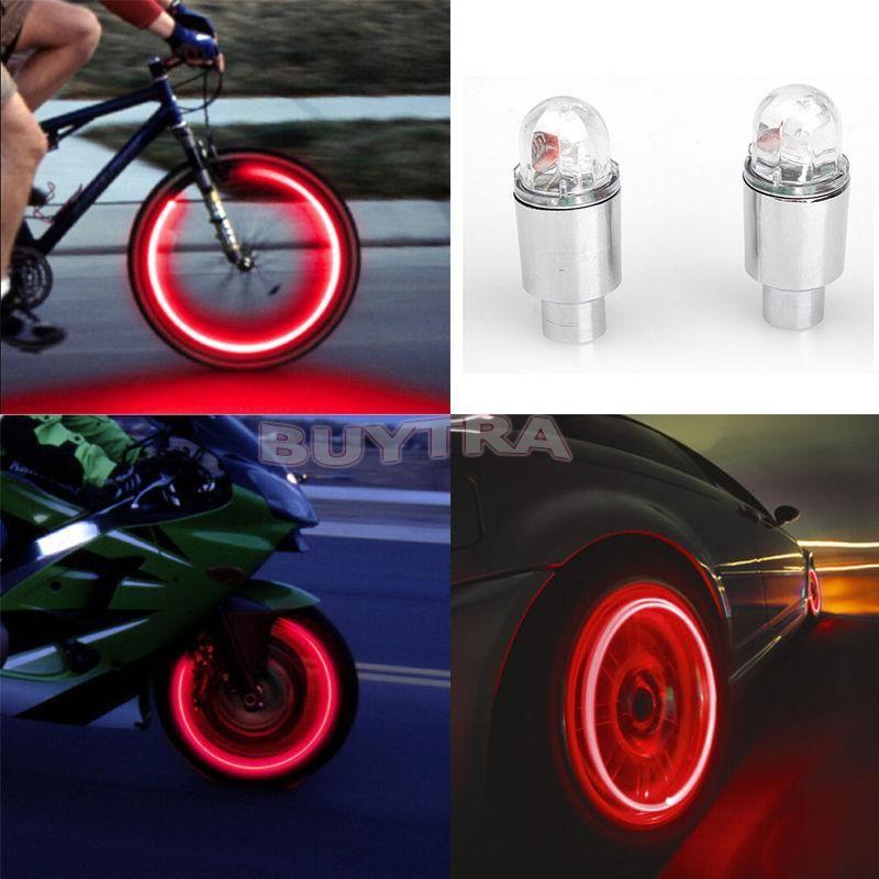 Valve Stem 5 LED CAP Flashing Light Bike Bicycle Motorcycle Wheel Tire Lamp x1